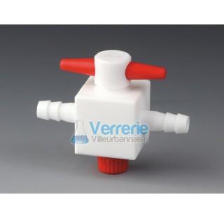 Robinet PTFE 2 voies pour tuyau diam int4 mm pression 2 bars Temp. Max. de -200 a 250 degre