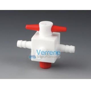 Robinet PTFE 3 voies pour tuyau diam int4 mm pression 2 bars Temp. Max. de -200 a 250 degre