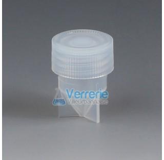 Vial conique 5 ml en PFA Diam ext 22 mm hauteur totale 36 mm pas de vis S25 Temp max de -200 a + 250