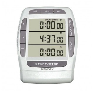 Minuteur - Jusqu'à 3 compteurs et/ou décompteurs 20 h - Chronomètre 1/100e 4 canaux - 3 lignes