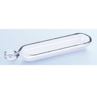 Nacelle de combustion en quartz avec poignee dimensions : 50 x 12 x 5 mm haute temperature verre sil
