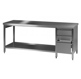 Table / paillasse de laboratoire 1500x750mm hauteur 900mm en inox avec 3 tiroirs a gauche