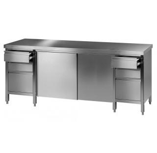 Bureau / paillasse de laboratoire 2100x750mm hauteur 750mm en inox avec 2 blocs tiroirs de 3 tiroirs