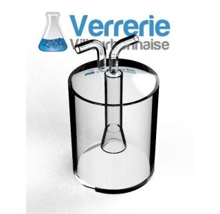 Piège à froid de 2 litres ,diametre 150 mm hauteur 200 mm, diamètre entrées 15 mm, en verre