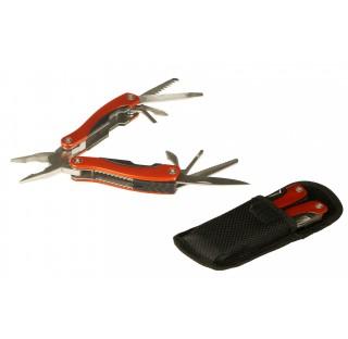 Pince multi-outils en inox long totale 100mm poignees plastique 9 outils avec sacoche