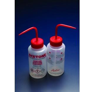 Pissette de securite anti-goutte LDPE 250ml acetone bouchon rouge multilingue