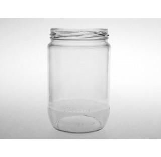 Bocal cylindrique 660 ml en verre blanc bague TO82, Twist off