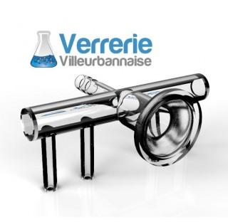 Clarinette 4 voies rodage 29/15 femelle rotulex, olive diametre 10 mm, en verre borosilicate