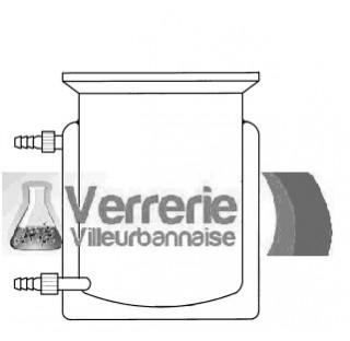 Reacteur verre thermostate fond plat externe et fond plat interne entree et sortie d'eau systeme a v