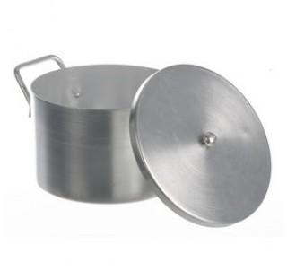 Recipient aluminium 3 litres hauteur 120mm diam int 200mm avec couvercle et poignees