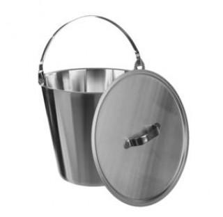 Seau evase inox 15 litres hauteur 305 mm diam int haut : 310mm couvercle vendu separement ref: 8334B