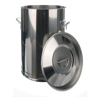 Seau inox 150 litres hauteur 670mm diam int 550mm avec poignees couvercle vendu separement ref: 8358