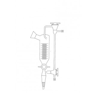 Separateur de distillation sous vide 30 ml rodage 29/32 et robinet voie 2,5 mm cle verre