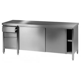 Table / paillasse de laboratoire 1600x750mm hauteur 750mm en inox avec 2 portes coulissantes et 1 bl