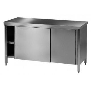 Table / paillasse de laboratoire 3000x750mm hauteur 750mm en inox avec 2 portes coulissantes