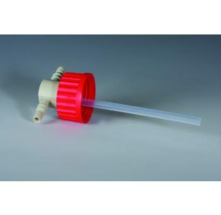 Bouchon pour piege a vide GL45 avec connection diametre 9-12 mm diametre interne 6 mm en polypropyle