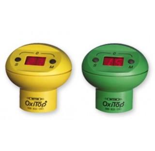 6 tetes de mesure OxiTop (3 jaunes, 3 vertes) a 2 touches (M pour mesure en cours, S pour mesures me