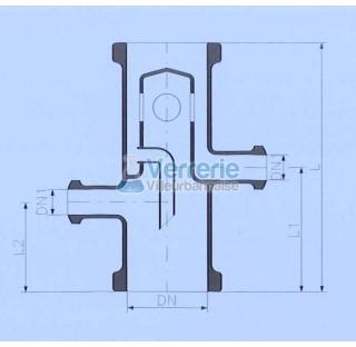 Tete de distillation avec debordement DN 400 PZ ,DN(1) 25 KZA Longueur totale 450 mm L1 : 200mm L2: