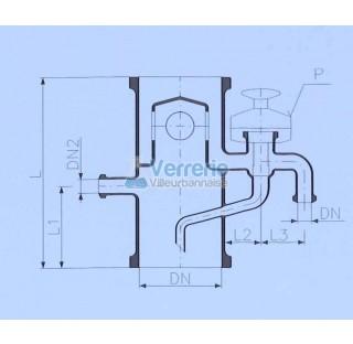 Tete de distillation avec debordement DN 150 PZ ,DN(1) 25 KZA ,DN(2) 25 KZA Longueur totale 350 mm L