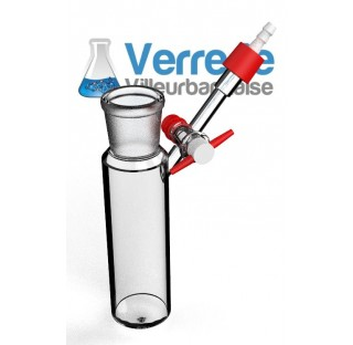 Tube schlenk 100 ml 29/32 robinet 2.5 mm clé PTFE avec olive en plastique GL14