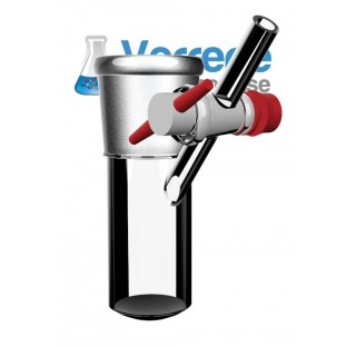 Tube schlenk 25 ml 34/35 robinet 2.5 mm clé PTFE, en verre borosilicate