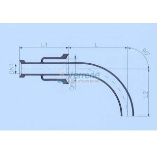 Tube d'alimentation DN 80 KZB et DN 50 KZB Longueur L : 300 mm , L1: 150mm , L2: 160mm verre industr