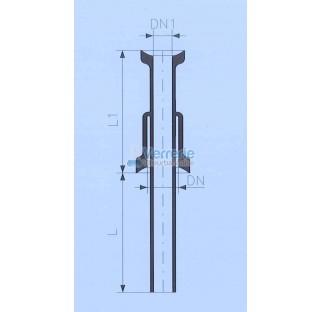 Tube d'alimentation DN 100 KZB et DN 80 KZB Longueur L : 100 mm , L1: 150mm verre industriel