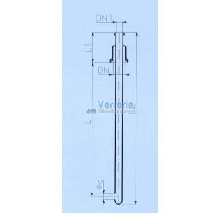 Tube d'alimentation DN 50 KZB et DN 25 KZB Longueur L : 1000 mm , L1: 125mm L2 : 1160mm diam sortie