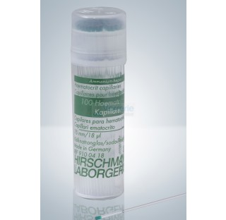 Micro tubes hematocrites capillaire diam. ext.1,3 - 1,4 mm 18UL jetable code couleur vert avec marqu