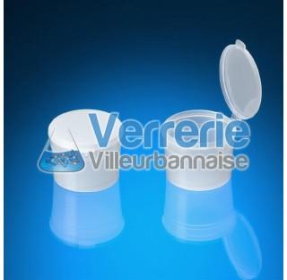 Vial en polypropylene 270 ml pour process Norme CE Num. 1935/2004 blanc One-Piece Flip-Top Vial - sp